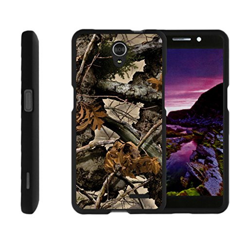 TurtleArmor | Compatible for ZTE Avid Plus Case | ZTE Avid Trio | ZTE ZFive 2 [Slim Duo] Two Piece Hard Cover Slim Snap On Case on Black - Tree Leaves Camouflage