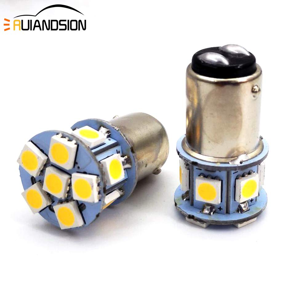 Ruiandsion 2pcs 1157 BAY15D DC 6V Super Bright 5050 12SMD Chipsets LED Replacement Bulb for Reverse Light Turn Signal Light Tail Light 6V, White