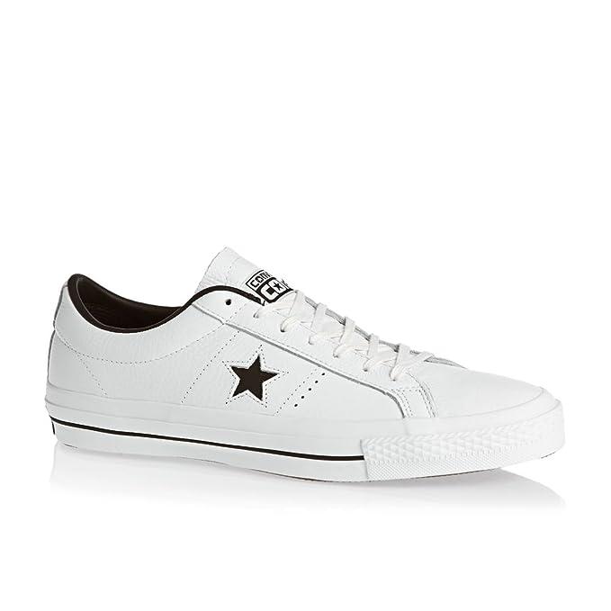 Converse Hombre Una estrella de cuero OX Formadores, Blanco: Amazon.es: Zapatos y complementos