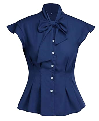 cf0c047b Women's Slim Short Sleeve Blouse Bow-Tie V Neck Slim Fit Button Down Shirt  at Amazon Women's Clothing store: