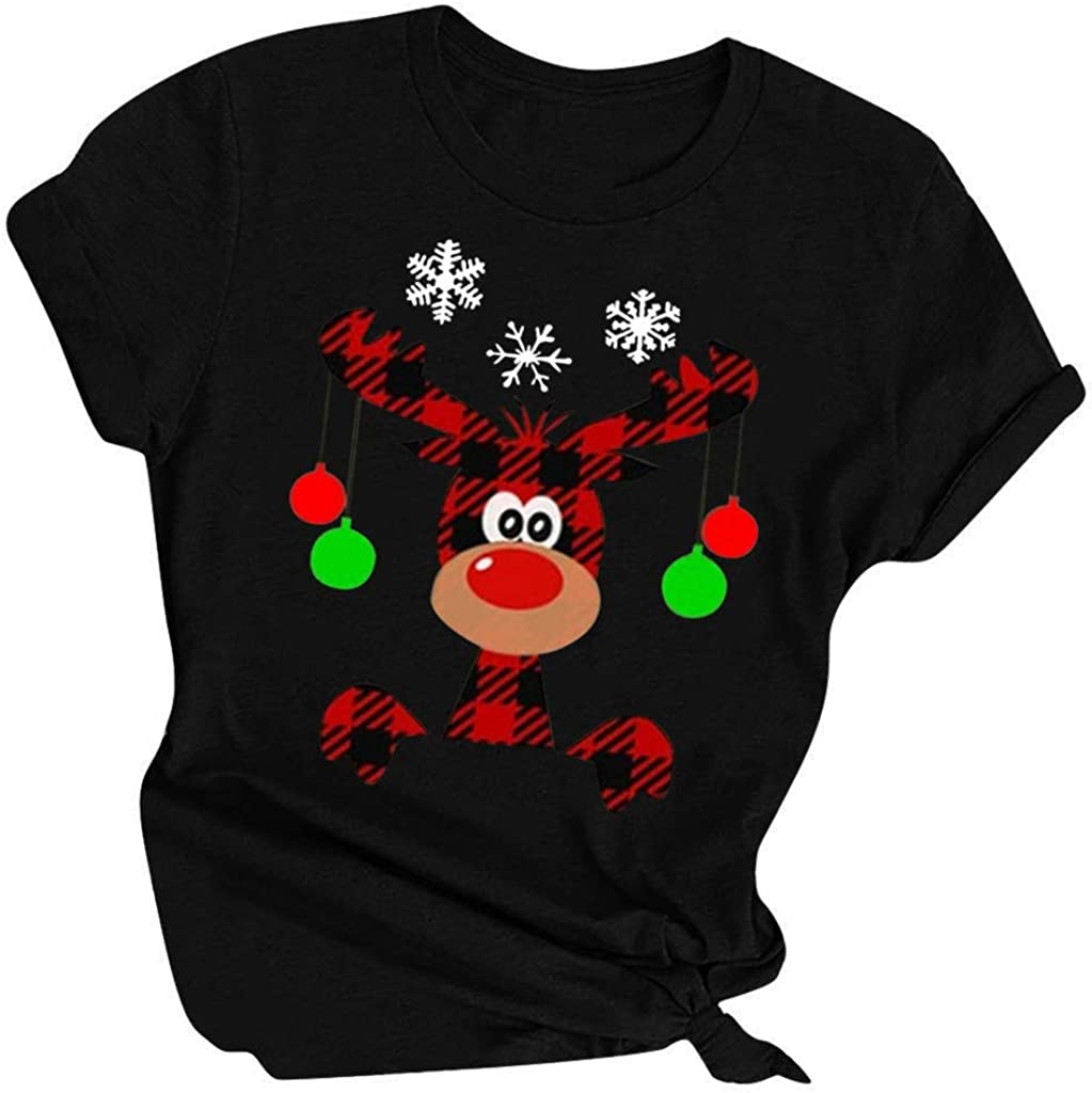Juner Womens Christmas Shirt O Neck Letter Printed Short Sleeve T-Shirts