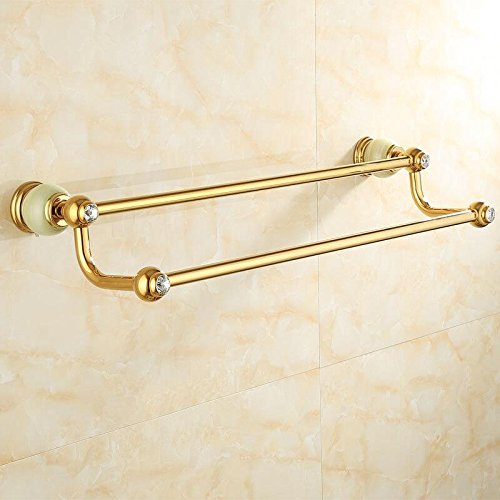 LHbox Tap Jewel of Whole Copper Bath Towel Rack Bathroom Marble Gold Towel Rack Racks, Tsing Yu Double Bar