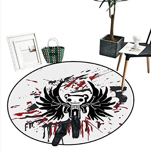 Halloween Bathroom Round Area Rug Carpet Teddy Bones with Skull Face and Wings Dead Humor Funny Comic Terror Design Non Slip Round Rugs (2'6