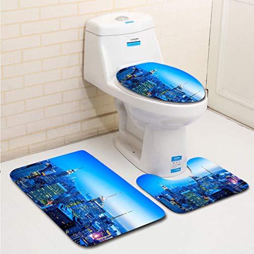 MTSJTliangwan 3-Piece Bathroom Set, Bathroom Rug + Contour pad + lid Toilet seat, Midtown and Lower Manhattan Skyline New York USA Comfortable Flannel Rug