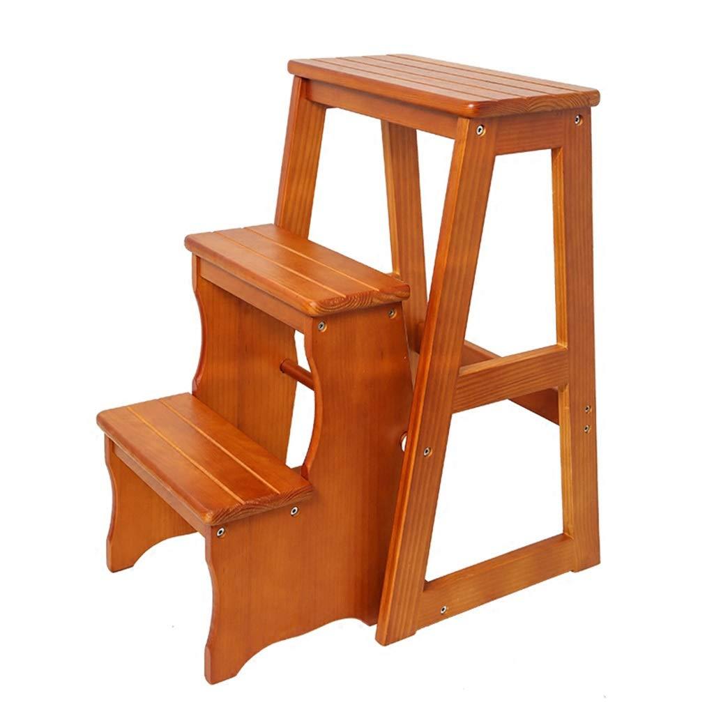 Three-story step stool Stepladder Folding Stool, Home Multi-Function Folding Step Stool Dual-use Solid Wood Step Stool (Size   Three-Story Step Stool)