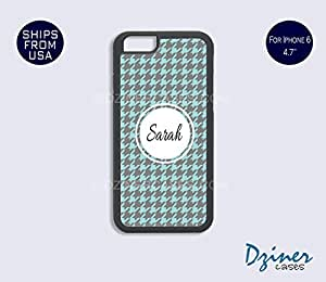 Monogrammed iPhone 6 Plus Case - Turquoise Grey Pattern iPhone Cover