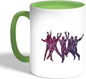 كوب سيراميك للقهوة بتصميم فرحة الشباب ، لون اخضر