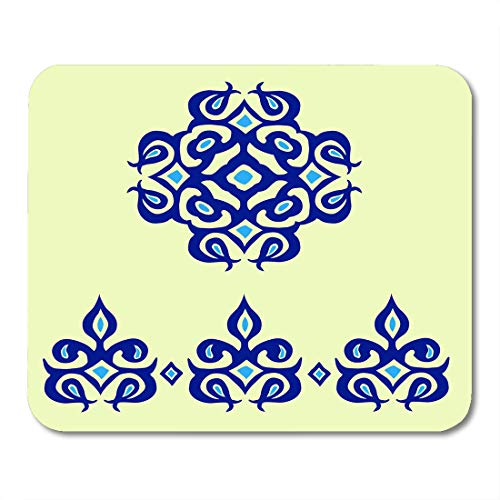 Boszina Mouse Pads Blueprint Blue Abstract Oriental Cobalt for Decorating Tableware Decal for Glass Porcelain Arabesque Mouse Pad 9.5