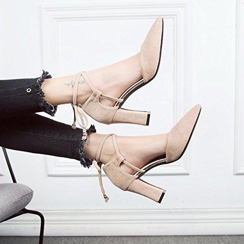 de M de Qiqi con de correa hembra blanco pajarita sandalias alto zapatos punta gruesa solo Luz tacón raso de Xue 1SqPq