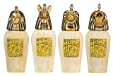 "4 Canopic Jars - Cold Cast Resin - 3.5"" Height"