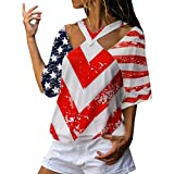 Yxiudeyyr Womens Short Sleeve Vest Patriotic Stripes Star American Flag Print Tank Top Casual Blouse Tunic Red