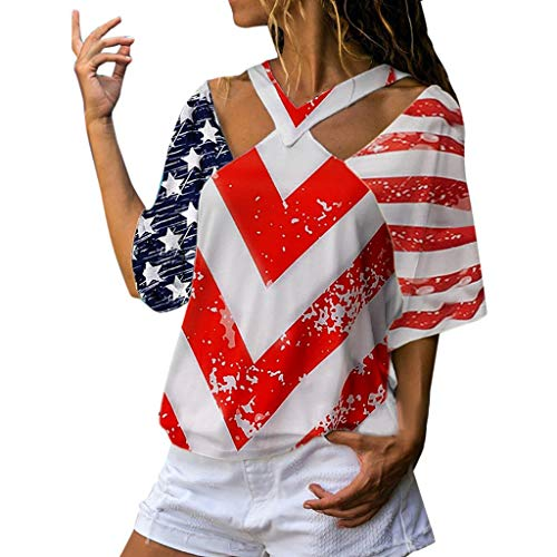 Sunhusing Ladies July 4th Independence Day Stripes Star Flag Printed Short Sleeve Tank Tops Vest Red