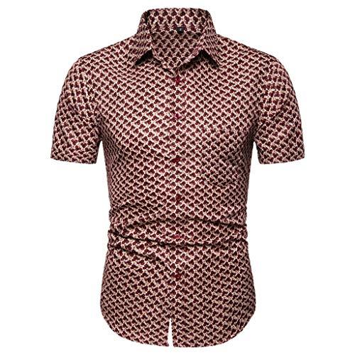 iHPH7 Shirts Men Casual Slim Fit Button-Down Dress Shirts Hawaiian Short Sleeves Printed Top Beach Blouse (S,1- Brown)