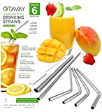 Otavay Reusable Metal Stainless Steel Straws, 6 Pack(4 Bent-1 Extra Long-1 Extra Wide)+ Brush, Eco Friendly Steel Drinking Straws for Smoothies, Milkshakes, Cocktails, 20 + 30 oz Yeti Rambler Tumblers