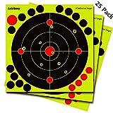 25 Pack Reactive Shooting Targets - Splatter Target with 19 Adhesive Patches for Gun, AirSoft, Rifle, Pistol, BB Gun, Pellet Gun, Air Rifle (25 Pack)