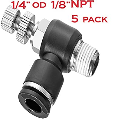 Utah Pneumatic Nylon & Nickel Plated Brass Push To Connect Air Flow Control Valve Elbow 1/4OD 1/8NPT Push In Fitting Pneumatic Speed Control Valve 5 Pack Pneumatic Fittings (Valve 1/4 OD 1/8NPT) from Utah Pneumatic