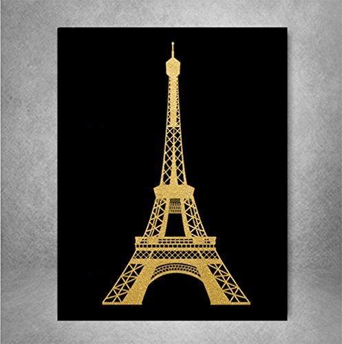 Eiffel Tower Gold Foil Print Wall Art Poster Paris Home Decor France Poster French Art Metallic Poster 8 x 10 inches A4
