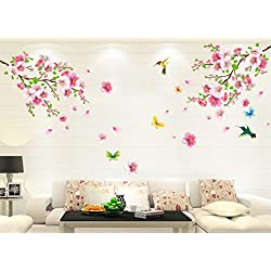 Wall Stickers, Yezijin Large Cherry Blossom Flower Butterfly Tree Wall Stickers Decal Art Mural for Bedroom Living Room Home Decor