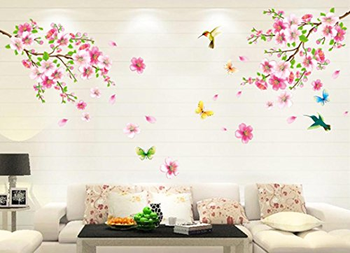 - Wall Stickers, Yezijin Large Cherry Blossom Flower Butterfly Tree Wall Stickers Decal Art Mural for Bedroom Living Room Home Decor