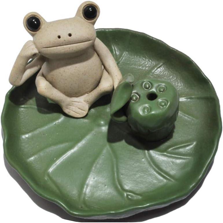 DMtse Handmade Ceramic Zen Meditation Ponder Frog and Lotus Leaf Tray Stick Incense Burner Holder Frog Cute Animal Statue Blessing Home Decoration
