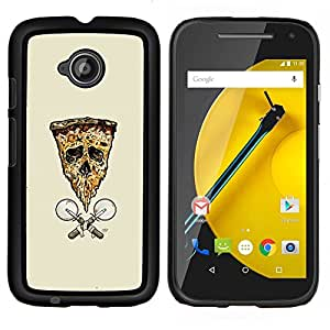 TECHCASE---Cubierta de la caja de protección para la piel dura ** Motorola Moto E ( 2nd Generation ) ** --Pizza de la bandera del cráneo de