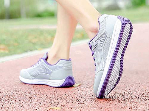 GLSHI Púrpura Seasons Zapatillas Students Correr Bottom para Zapatillas Ligeras Mujer Transpirables Four para 2018 Flat Youth rYrHxZwqC