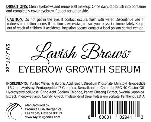 Pronexa Hairgenics Lavish Brows – Eyebrow Growth Enhancer Serum with Biotin, Castor Oil & Natural Growth Peptides for…