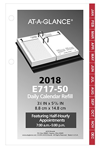 "Daily Desk Calendar Refill, January 2018 - December 2018, 3-1/2"" x 6"", Loose Leaf (E71750)"