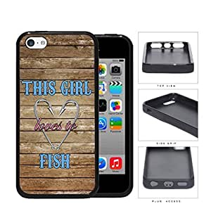 LJF phone case This Girl Loves to Fish Quote on Wood Background and Fish Hooks Heart ipod touch 4 Rubber Silicone TPU Cell Phone Case