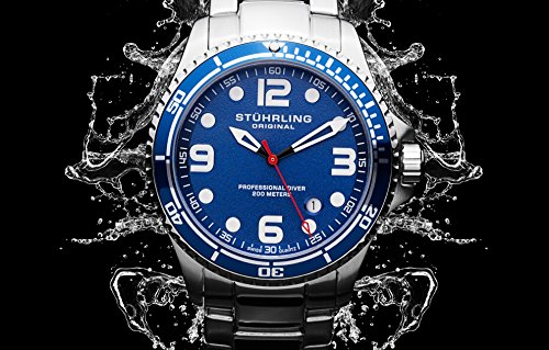 "Stuhrling Original Watches Mens ""Specialty Grand Regatta"" Stainless Steel Professional Swiss Quartz Dive Watch"