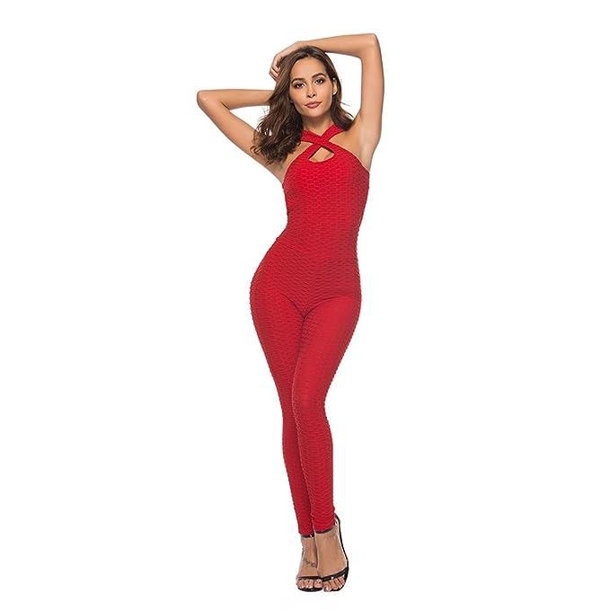 aac95ea01be9c4 Ansenesna Jumpsuit Damen Sommer Schwarz Lang Eng Elegant, Rückenfrei Yoga  Sportlich Fitness Overall Weiß Rot