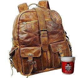 715ad4842ef87 BARON of MALTZAHN Rucksack Citybag JEROME aus braunem Rugget-Hide Leder +  Lederpflege