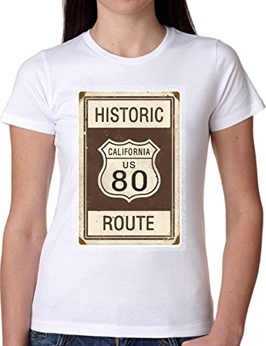T SHIRT JODE GIRL GGG22 Z1323 HISTORIC CALIFORNIA US 80 ROUTE FUNNY FASHION COOL BIANCA - WHITE S