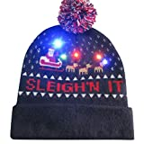 Putars Christmas Hat,Merry Christmas Colorful LED Light-up Hat Knitted Ugly Sweater Holiday Cap