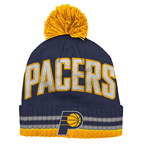 adidas Indiana Pacers Bold Wordmark Striped Cuff Pom Knit Beanie Hat/Cap