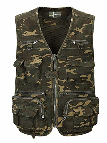 Zicac Outdoor Camo Multi-pocket Fishing Vest Quick-dry Waist