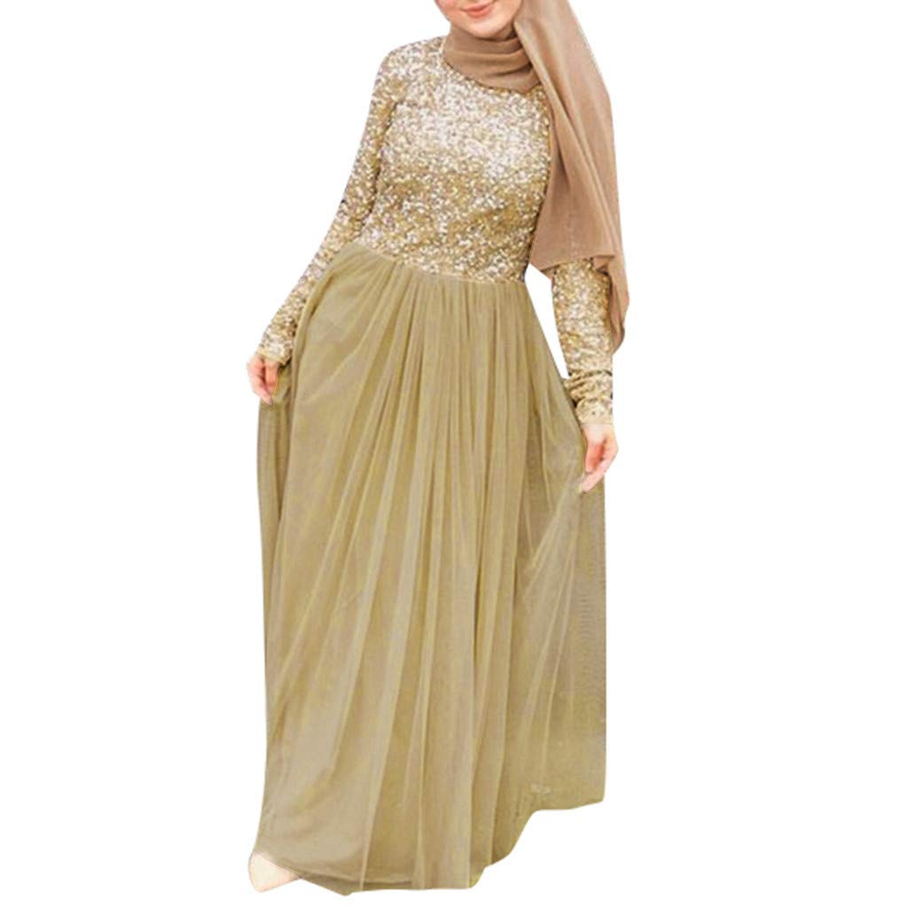 Women's Slim Ethnic Style Noble Maxi Dress Elegant Evening Long Dress Muslim Cocktail Party Dress Cute Sequined Ball Gown (XL, Khaki) by PaJau