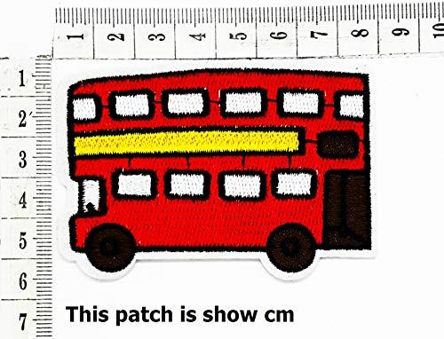 Red London Bus UK United Kingdom School Bus Cartoon Chidren Kids Embroidren Iron Patch/Logo Sew On Patch Clothes Bag T-Shirt Jeans Biker Badge Applique