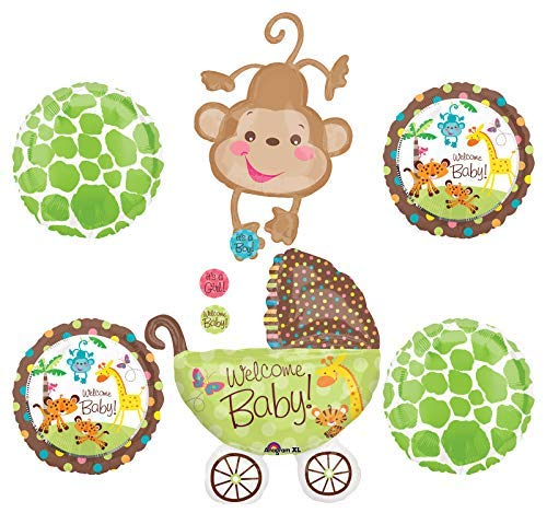 Jungle Safari Welcome Baby Shower Party Supplies Buggy and Monkey Balloon Bouquet Decorations -