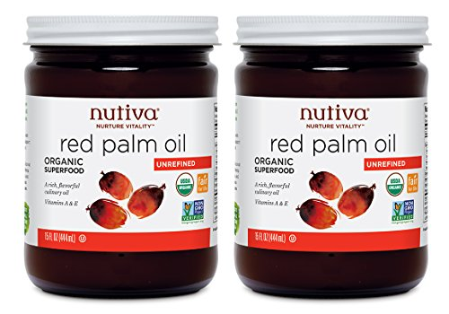 Nutiva USDA Certified Organic, non-GMO, Cold-Filtered, Unrefined, Fair Trade Ecuadorian Red Palm Oil, 15-ounce (Pack of 2) (Nutiva Organic Unrefined Extra Virgin Coconut Oil)