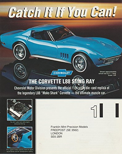 Mint Franklin Coupe (1968 CHEVROLET CORVETTE STING RAY L88 COUPE in FRANKLIN MINT LONDON COLOR AD - UK - NICE !!)