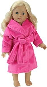 18 Inch Doll Robe in Hot Pink Made by Sophia's, Fits 18 Inch American Girl Dolls & More! Soft Hot Pink Robe/Belt   Doll Sold Separately