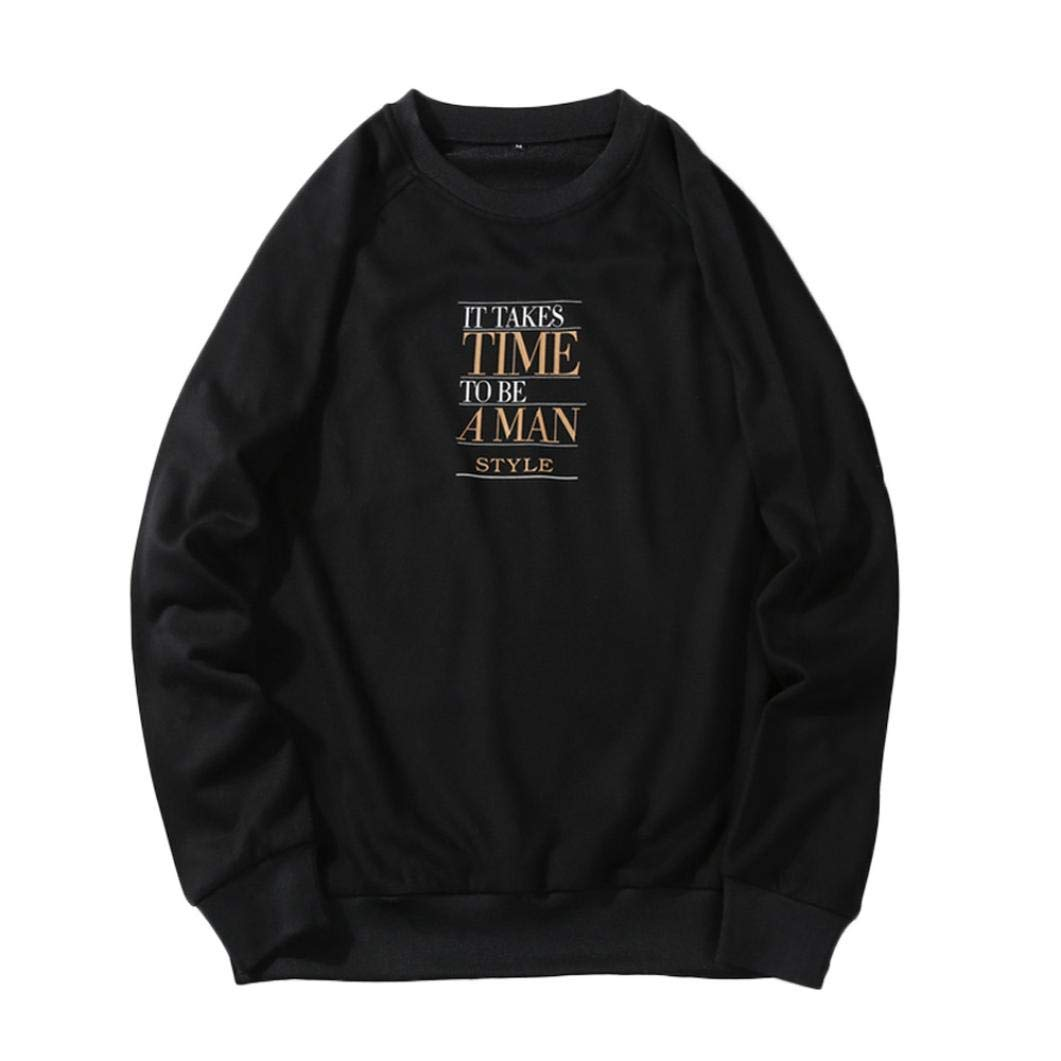 kaifongfu Pullover Tops,Men Loose Long Sleeve Hoodie Top Fit Blouse with Letter for AutumnBlackM