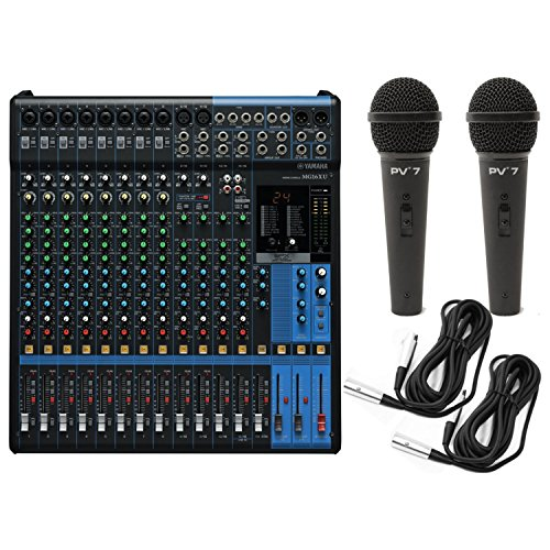 Yamaha MG16XU 16-Input Analog Mixer with Microphone Preamps , Dedicated Stereo Line Channels, Aux Sends , EQ , Digital Effects Audio Mixer USB Interface with 2 Microphones and 2 Microphone Cables