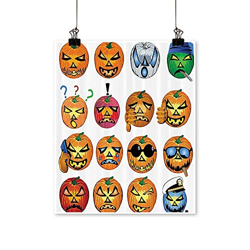 Single paintingCarved Pumpkin with Emoji ces Halloween Humor Hipster Msters Harvest Office Decorations,28