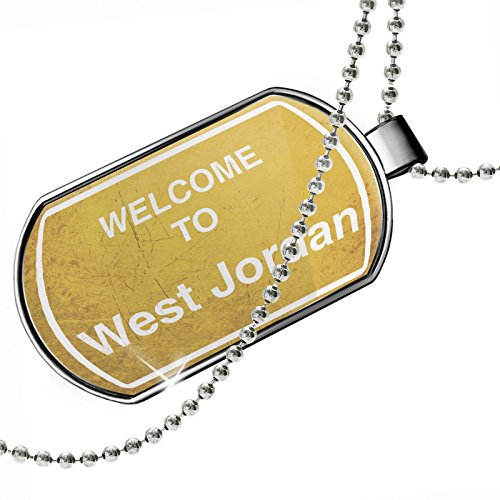 Dogtag Yellow Road Sign Welcome To West Jordan Dog tags necklace - Neonblond by NEONBLOND
