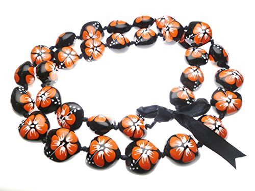 Hawaiian Style Kukui Nut Lei, Hand Painted Orange Hibiscus 32 Inches