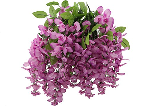 Long Stem Lilac - Admired By Nature Artificial Wisteria Long Hanging Bush Flowers - 15 Stems For Home, Wedding, Restaurant and Office Decoration Arrangement, Lilac