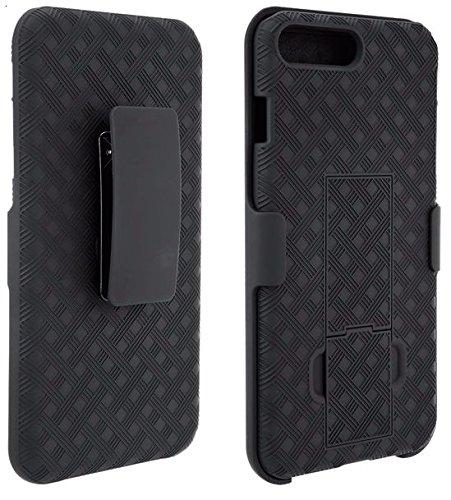 Black OEM Verizon Rubberized Hard Case w Holster & Kickstand For Apple AT&T Verizon iPhone 7 (Oem Black Phone Case)