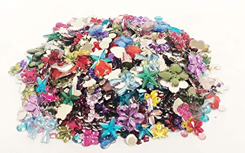 (1000 Pcs Acrylic Flat Back Rhinestones Gemstone Embellishments, 10 Shapes, 4-15 mm, with a Free Drawstring Organza Bag for Easy)